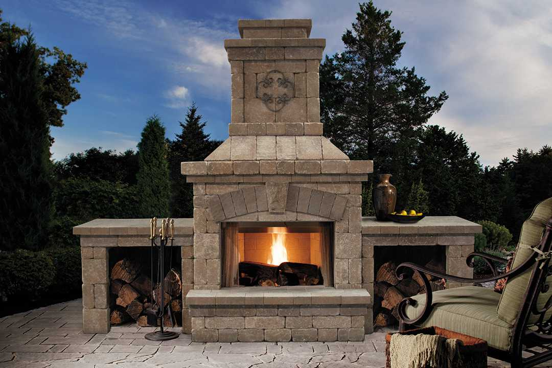 Brighton Fireplace with wood boxes | Mega Arbel Pavers